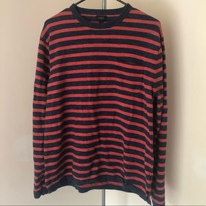 J Crew Navy and Red Striped Sweater